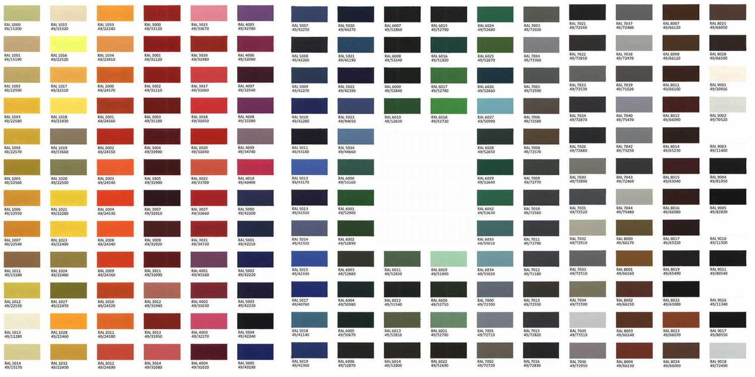 Colors - Jr\'s Professional Finishing - Paint and Powder Coating